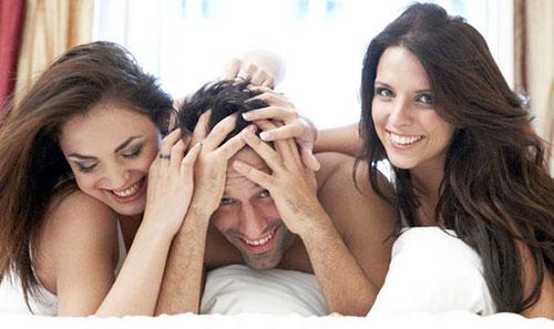 Couple enjoying a threesome
