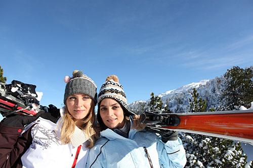 Two beautiful girls on ski vacation